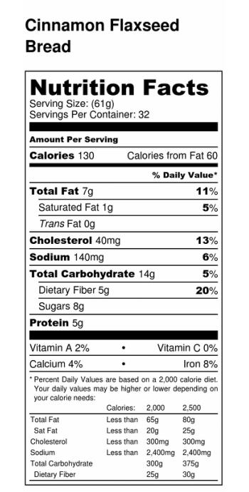 Cinnamon Flaxseed Bread Nutrition