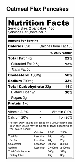 Pancake Recipes For Diabetics Nutrition Label Oatmeal Flax Pancakes