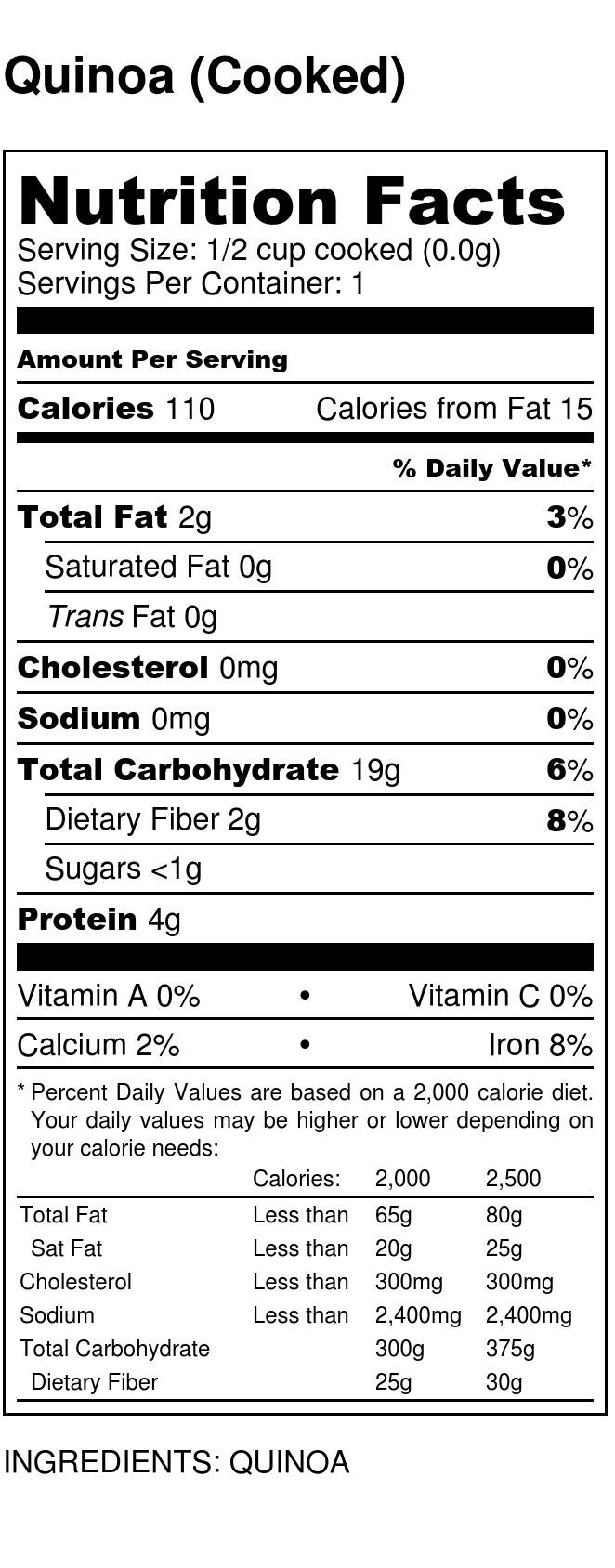Quinoa Cooked Nutrition Label