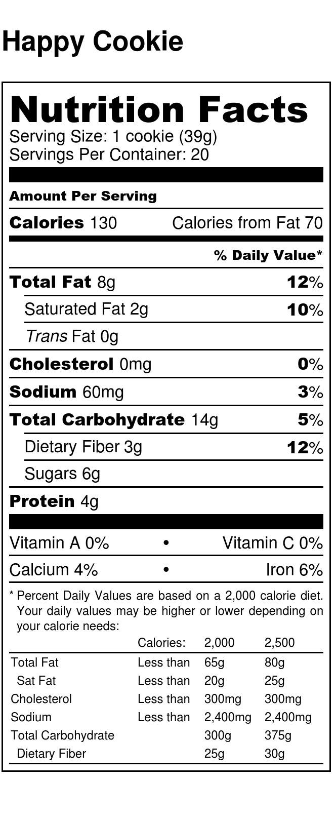Power In The Group Happy Cookie - Nutrition Facts