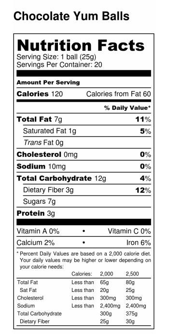 Chocolate Yum Balls Nutrition Facts Label