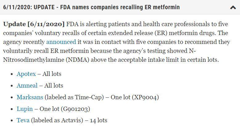 Prediabetes Metformin Recall
